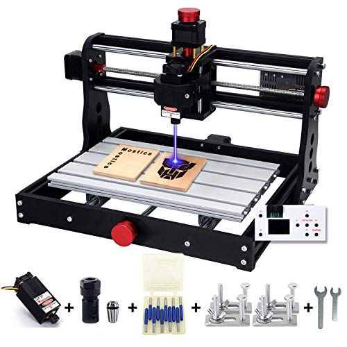 Mostics CNC 3018 Pro 5.5W Laser Cutter Engraver, Desk Top MiNi CNC Wood Router Kit with Precise Handwheel, 3 Axis Laser Engraving Milling Machine on Acrylic Plastics Metal Resin Carving Arts & Crafts