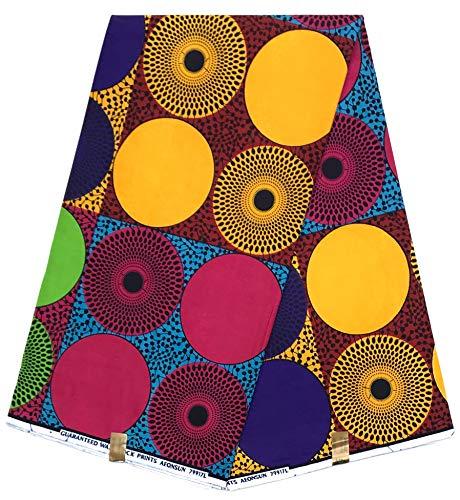 HITARGET Afrikanischer Bastrock Wax Druck Überqualität 100% Reiner Baumwollstoff ORIGINAL Collection Kupon 6 Yards