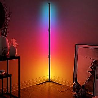 RGB Lampadaire LED - JFIEEI 20W d'angle Lampe d'intérieur Éclairage décoratif Lampe Debout Luminosité des couleurs RGB rég...