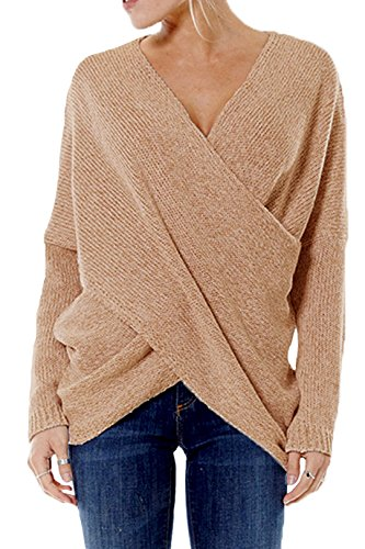 YOINS Damen Pullover Herbst Winter V-Ausschnitt Langarmshirt Batwing Strick Sweater Loose Strick Jumper Shirt Top Cross Front Khaki EU36-38