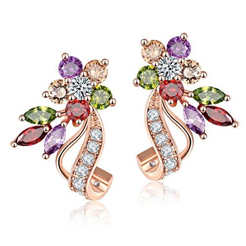 Un Par de Pendientes de Mujer con Hermoso Multicolores Zirconia Cúbica Aretes Clásica Joyería Regalo Ideal para Mujeres