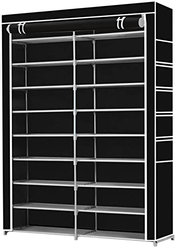 70 Pairs 10 Tiers Metal Shoe Rack Stackable Shelf Storage Organizer W/Cover 2 Rows 160cm Height Black Color