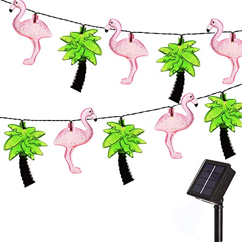 20 LED Light Flamingo Palm Tree Solar String Lights Outdoor, Fairy Lights Solar Garden Light Waterproof String Lights for Patio, Yard, Tree, Christmas, Wedding Decor-12.8ft(Flamingo Palm Tree)