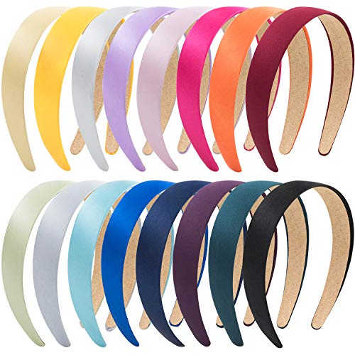 EAONE 16 Pieces Satin Headband Hard Headbands Wide Anti-slip Ribbon Hair Bands for Women Girls with 1 pouch bag, 1.2 Inch, 16 Colors