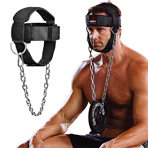 DMoose Fitness Neck Harness for Weight Lifting, Resistance Training, or Injury Recovery with Long Steel Chain and Neoprene Head Cap, Neck Trainer to Improve Muscle Strength.