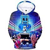 パーカー スウェットシャツ Marshmello DJ マシュメロ おしゃれ カジュアル 3Dプリント フード付き 男女兼用 プレゼント スポーツ 演出会 応援会 (2XS)
