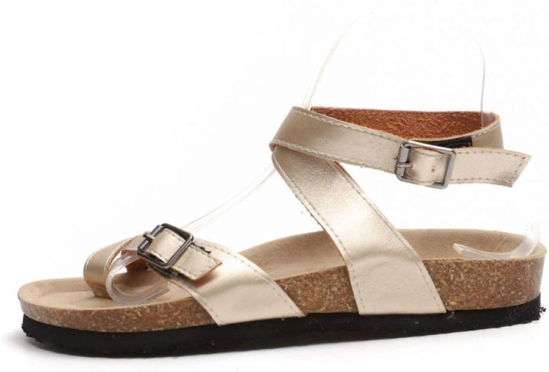 Summer Women Fashion Flat Sandals Ladies Casual Buckle Strap Platform shoes Beach Low Heel shoes