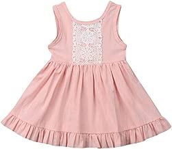 RUIVE Infant Summer Dresses Sleeveless Baby Sister Girls Fly Sleeve Lace Ruffles Bodysuit Romper Jumpsuit Toddler