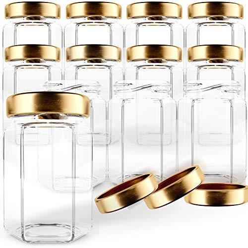 GoJars 4oz Premium Food-Grade Hexagon Glass Jars for Gifts, Wedding Favors, Honey, Jams and More (12, 4oz)