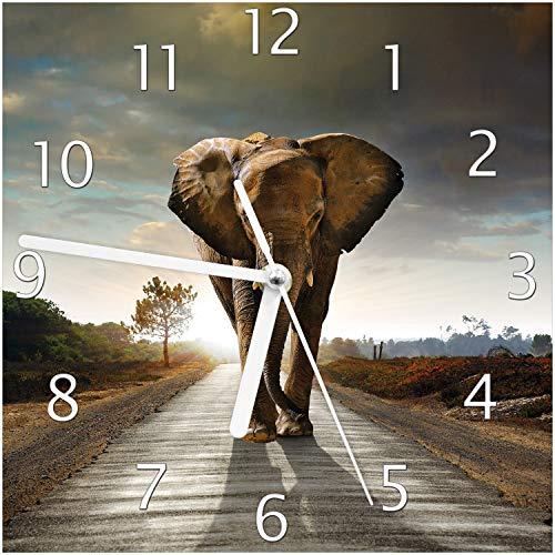 Wallario Glas-Uhr Echtglas Wanduhr Motivuhr; in Premium-Qualität; Größe: 20x20cm; Motiv: Elefant bei Sonnenaufgang in Afrika