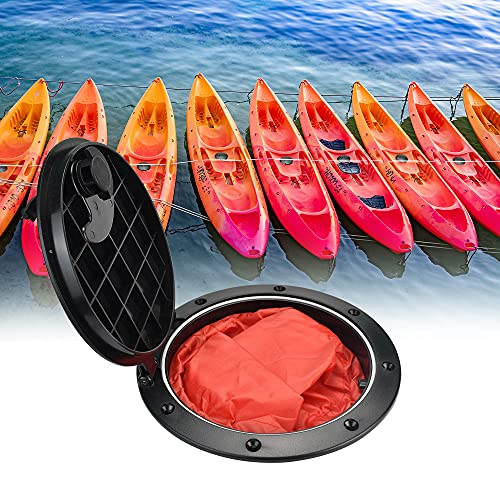 ANTHYTA Cubierta de Escotilla de 6 Pulgadas Tapa De Escotilla con Bolsa Impermeable Escotilla de Cubierta con Tornillos Placa de Cubierta de Kayak Accesorios de Canoa Pesca Aparejo Vela Barco