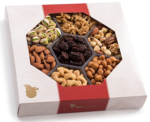 Holiday Nuts Gift Basket, Large 7-Sectional Elegant Nuts Assortment, Gourmet Christmas Food Box...