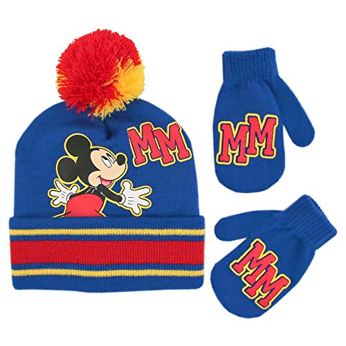 Disney Boys' Toddler Mickey Clubhouse Beanie Hat Cold Weather Set, blue/red, Mittens - Age 2-4