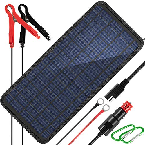 KINGSOLAR 10W 12v Solar Car Battery Charger, 12 Volts Solar Trickle Charger, Solar Panel Battery Maintainer,Portable Power Kit Portable Backup for Automotive,Boat, RV with Alligator Clip Adapter