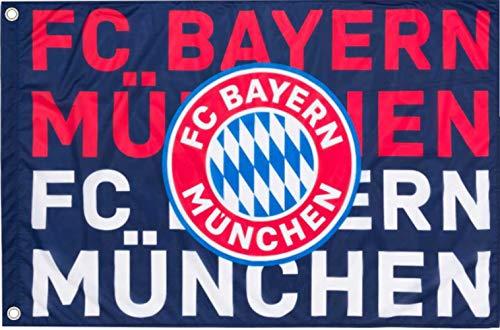 FC Bayern München Fahne Navy Logo Flagge Neu 2020 Fahne 100 x 150 cm Original Ware + Ösen Service