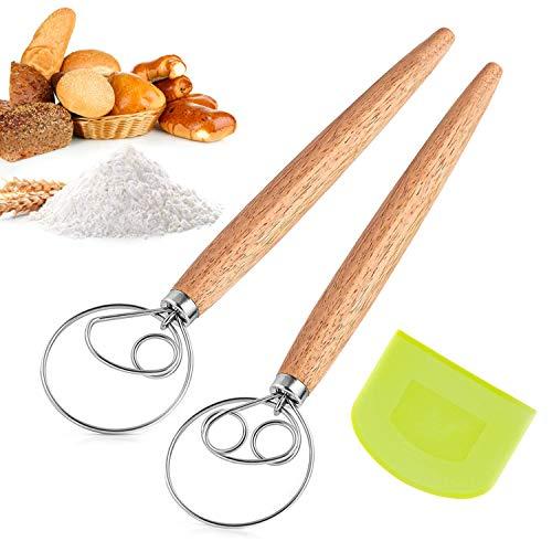 LUOWAN Batidora Danesa de Masa Manual, Batidor de Masa Herramienta de Mezclador de batidora de Huevos con Cuchillo de Pan