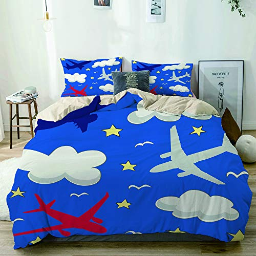 MANISENG Microfiber Duvet Cover Sets,Beige,Seamless baby pattern with flying planes and clouds,Decorative 3 Piece Bedding Set with 2 Pillow Shams Single Size