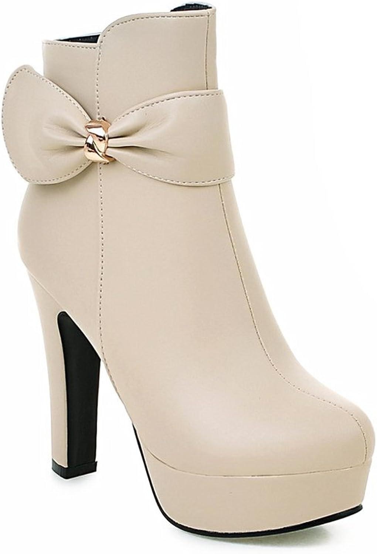 Lucksender Womens Zip Bowknot Round Toe High Heel Platform Short Boots