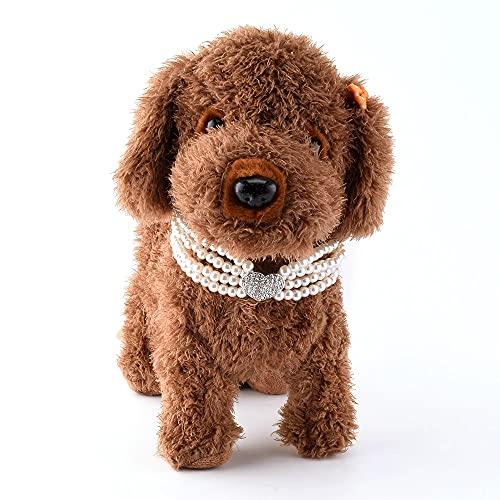 Lindo collar de perlas para perros con cristal, ajustable collar de perlas para mascotas, collar de perlas de cuero con cristal, collar de perlas de perro para perro - perla blanca, talla S