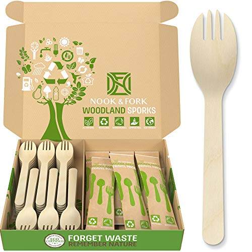 Woodland Sporks - Disposable Wooden Cutlery (120 Count) + 30 Bonus Biodegradable Silverware with Wooden Forks and Spoons and Knives (in 10 Travel Packs) by Nook & Fork