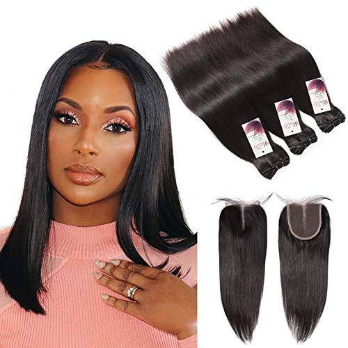 Straight Human Hair Bundles with Closure 10a Peruvian Hair Bundles with Closure Lace 4x4x1 Short Unprocessed Virgin Human Hair Weave Weft 10 12 14+10 T Closure Natural Black 70g/Bundle Deals