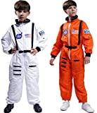 Maxim Party Supplies Kids Astronaut Costume Space Suit Onesie with Embroidered Patches and Pockets for Children, Boys, Toddlers (12/14, White)