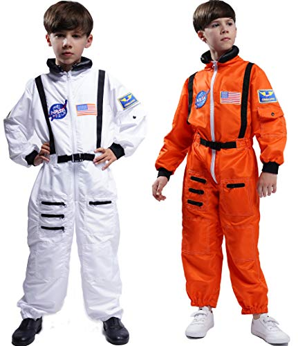 Maxim Party Supplies Kids Astronaut Costume Space Suit Onesie with Embroidered Patches and Pockets for Children, Boys, Toddlers (12/14, Orange)