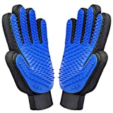 Closeep Dog Grooming Glove - Pet Massage Deshedding Brush Gloves Cat Horses Hair Remover Mitt Five Finger Design for Long or Short Fur Breathable Washing, Easy Clean - Universal Size - 1 Pair…