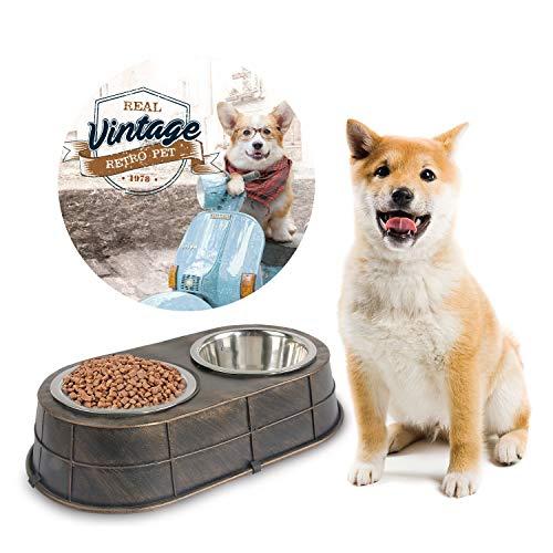 ALL FOR PAWS Doppelter Futternapf für Hunde und Katzen, Vintage-Stil, hochwertiger Edelstahl, für Futter und Wasser