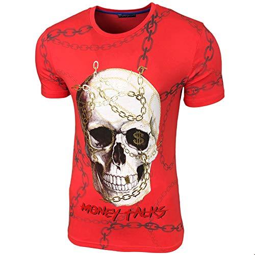 Baxboy Herren Vintage Totenkopf Kurzarm T-Shirt mit Strass Steinen Slim Fit Design Fashion Top Print Shirt JA-2312, Größe:XL, Farbe:Rot_1