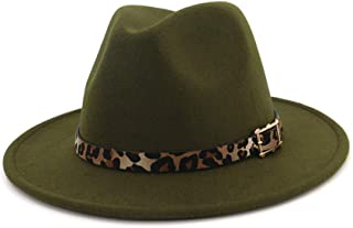 Women's Wide Brim Felt Fedora Panama Hat with Leopard Belt Buckle