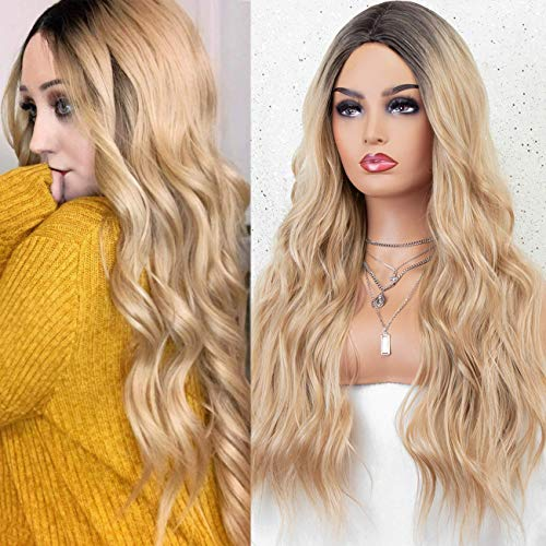 KRYSSMA None Lace Long Blonde Synthetic Wig for Women with 2 Tone Ombre Wavy Synthetic Wig with Dark Roots Heat Resistant 22 inches