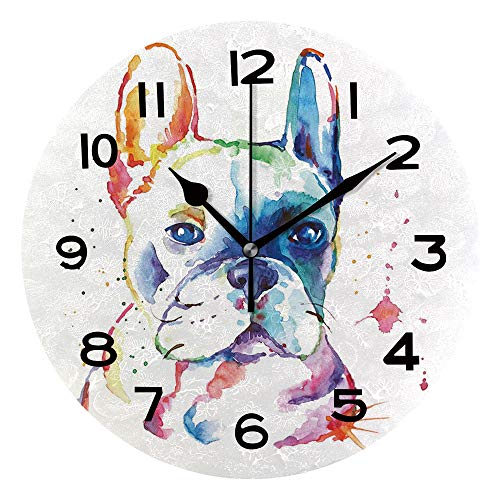 AmaUncle 10 Inch Round Face Silent Wall Clock French Bulldog Unique Contemporary Home and Office Decor SW160325