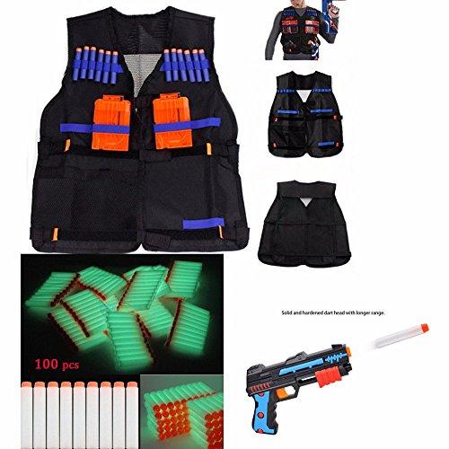100 PCS Gun Soft Darts + 1 Tactical Vest For Nerf N-Strike Elite Series white