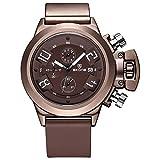 SJXIN Orologio Da Polso SKONE grande orologio da uomo al quarzo grande quadrante 3D 3 funzione sub quadrante fibbia fibbia Hardlex orologio da uomo (Color : 2)