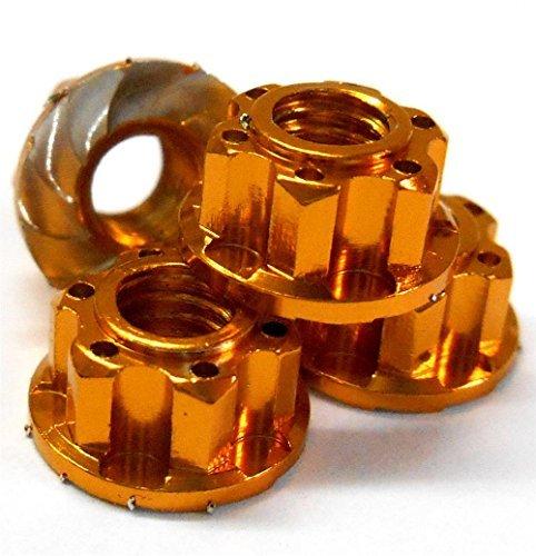 YA-0448OR 1/10 M4 4mm Alliage Aluminium Roue Bride moletéÉcrou Autobloquant 4 RC Orange