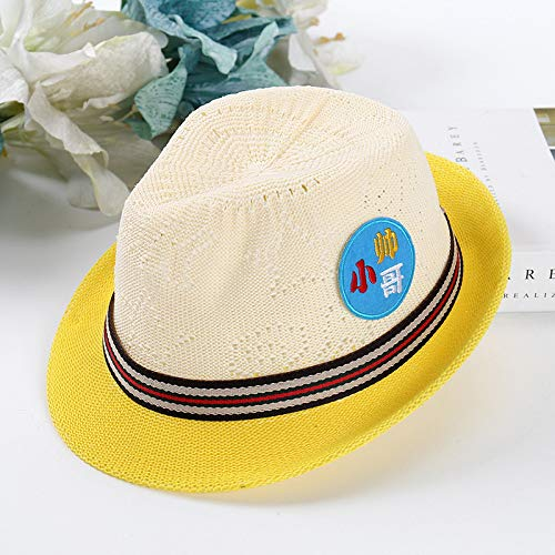 mlpnko Sombrero de Punto para niños Lindo Protector Solar Sombrero para el Sol Sombrero de sombrilla de Dibujos Animados Amarillo 48-52cm