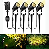Garden Spike Lights Mains Powered, GreenClick 4 Pack 12V Garden Spotlights Extendable IP65 Waterproof Outdoor Landscape Lighting for Pathway Yard Patio(2700K Warm White)