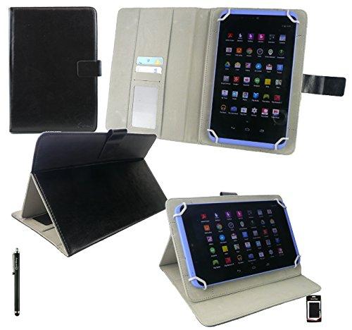 Emartbuy® Schwarz Eingabestift + HP Pro Tablet 608 G1 Windows 8 Zoll Tablet Universalbereich ( 8 - 9 Zoll ) Schwarz PU LederMulti Winkel Folio Executive Hülle Cover Wallet Hülle Schutzhülle mit Kartensteckplätze