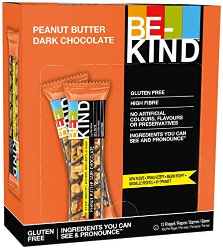 BE-KIND Barretta al Gusto di Burro di Arachidi e Cioccolato Fondente, Snack Senza Glutine, 1 Confezione x 12 Barrette da 40 g
