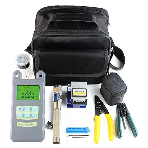 DAXGD Kit Fibra óptica, FTTH Kit de herramientas con FC-6S cortadora de fibra optica y medidor de energía óptica 5 km Visual Localizador de averías Wire stripper
