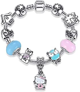 d8423ca5e MIADEAL Hello Kitty Charms Bracelet for Kids Girls Murano Glass Beads Women  Ladies DIY Fashion Jewelry
