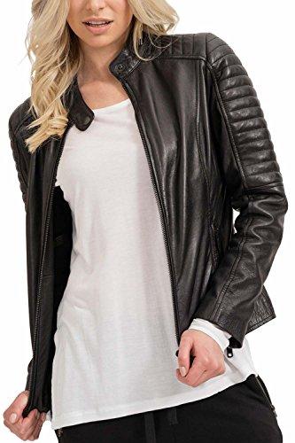 trueprodigy Casual Mujer Marca Chaqueta De Cuero Basico Ropa Retro Vintage Rock Vestir Moda Deportivo Manga Larga Slim fit Designer Leather Jacket Aviador Biker, Colores:Black, Tamaño:XS