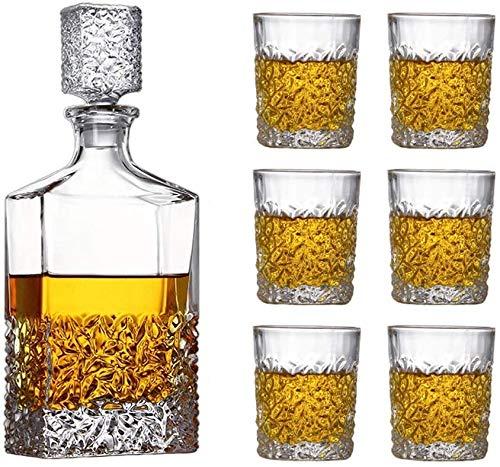 Whisky/Brandy/Sherry Dekanter, Karaffen mit, Bleikristallglas Whisky Karaffen, Spirituosen-Flasche mit Wine Stoppers, Tag Geschenke für Ehemänner/Dad (7-teilig),A