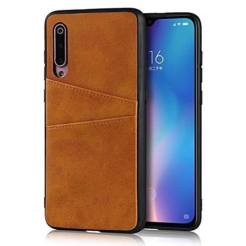 Happy-L Funda para Xiaomi 9 MI 9, funda de cuero tipo cartera, funda de piel sintética retro con 2 soportes para tarjetas de crédito (color marrón claro)