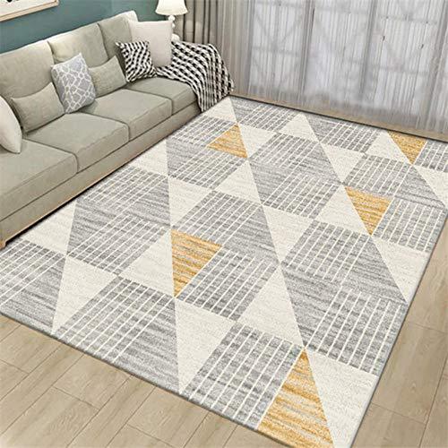 Gkmezmke Tappeto Home Alfombra De Diseño Patrón geométrico Gris Amarillo Crema- 120 × 160cm Fácil de Limpiar