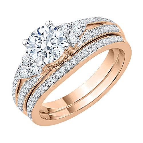 KATARINA - Juego de brocas de diamante para novia, en oro de 14 quilates (1 1/2 cttw | J-K, SI2-I1)