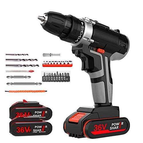 36V Cordless Electric Drill Set with 2 Batteries and 1 Charger, SEAAN LED Illuminated Electric Drill, Variable Speed Electric Drill with 15-stop Torque Setting and 1H Fast Charger