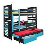 Ye Perfect Choice Triple BUNK BED Roland 3 Modern High Bed DRAWERS Ladder 3 Children Pine Wood 2 sizes