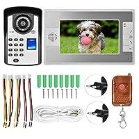 ビデオインターカムドアベル、有線ビデオインターコムシステム、ハンズフリー、IRナイトビジョン機能、家の正面玄関の指紋パスワード付き(European standard (110-240V))